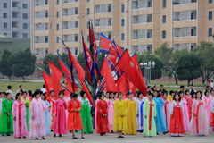 De Dans van de massa op Nationale feestdag 2011 in DPRK Royalty-vrije Stock Foto