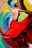 De dans van de olieverfschilderijdame Royalty-vrije Stock Foto