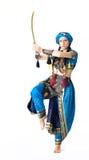 De dans van de vrouw in Arabisch kostuum Stock Afbeeldingen