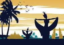 De dans van Indonesië toont op zonsondergangtijd, beroemde prestaties voor oriëntatiepunt, uitstekend kleurenontwerp stock illustratie