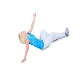 De dansende heup-hop van de tiener over wit stock fotografie