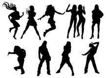 De dansende Meisjes silhouetteren Stock Foto's