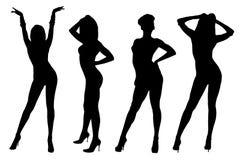De dansende meisjes silhouetteren Stock Afbeeldingen