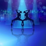 De dansende meisjes silhouetteren illustratie Stock Foto's