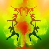 De dansende meisjes silhouetteren illustratie Royalty-vrije Stock Afbeelding