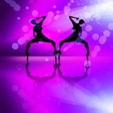 De dansende meisjes silhouetteren illustratie Royalty-vrije Stock Afbeeldingen