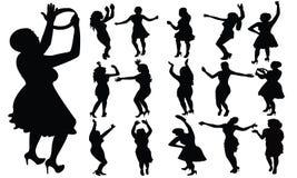 De dansende meisjes silhouetteren, vector Royalty-vrije Stock Afbeeldingen