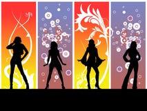 De dansende Meisjes van de Disco Stock Afbeelding