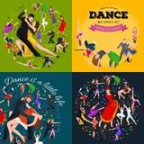 De dansende Mensen, Danser Bachata, Hiphop, Salsa, Indiër, Ballet, Strook, Rots - en - rollen, breken, Flamenco, Tango vector illustratie
