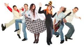 De dansende mensen groeperen zich geïsoleerdc Stock Fotografie