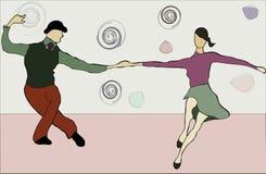 De dansende schommeling van het paar Stock Foto's