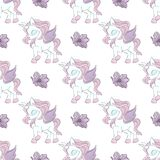 De DANSENDE Vectorillustratie van UNICORN Fairy Tale Seamless Pattern royalty-vrije illustratie