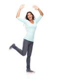 De dansende Vrouw van de Succeswinnaar Royalty-vrije Stock Fotografie