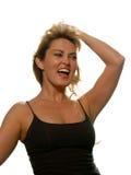 De dansende Vrouw zingt/schreeuwt Stock Foto