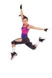 De danser die van de vrouw een springende dansbeweging maakt Royalty-vrije Stock Afbeeldingen