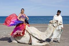De Danser en de Kameel van de buik Royalty-vrije Stock Foto