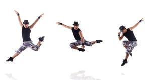 De danser op de witte achtergrond wordt geïsoleerd die Stock Foto