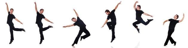 De danser op de witte achtergrond wordt geïsoleerd die Stock Afbeeldingen