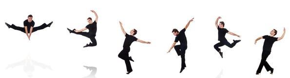 De danser op de witte achtergrond wordt geïsoleerd die Stock Foto's