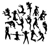 De Danser Silhouettes van prethip hop stock illustratie