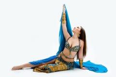 De danser van de buik in blauw Royalty-vrije Stock Foto's