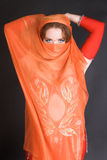 De Danser van de buik in Rood Royalty-vrije Stock Afbeeldingen