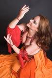 De Danser van de buik in Rood Royalty-vrije Stock Afbeelding