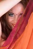 De Danser van de buik in Rood royalty-vrije stock fotografie