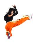 De danser van de vrouw in ingewikkelde sprong Stock Foto