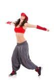 De danser van de vrouw met uitgebreide wapens Stock Foto's