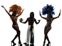 De danser van de vrouwensamba en voetballerman silhouet Royalty-vrije Stock Foto