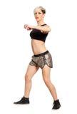 De danser van de Zumbageschiktheid De mannequin van het blondehaar op witte achtergrond Beschikbaar PNG stock afbeeldingen