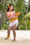 De danser van Hawaï Hula op het strand Royalty-vrije Stock Fotografie