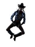 De danser van het de koemeisje van de vrouw gelukkige het dansen country muziek Royalty-vrije Stock Foto