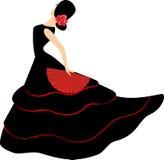 De danser van het flamenco. Spaans meisje met ventilator Stock Afbeelding