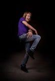 De danser van het meisje in dark Royalty-vrije Stock Foto's
