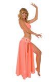 De danser van het oosten in roze kostuum. Stock Fotografie