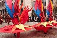 De dansers in Kostuum, Lord Burgemeester tonen Londen Stock Foto