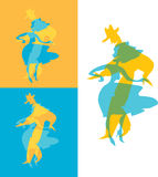 De dansers silhouetteren Stock Foto's