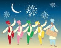 De dansers van Bhangra Stock Foto's