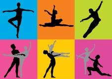 De dansers van het silhouet (vector) Stock Fotografie