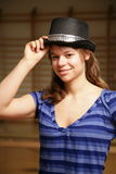 De dansersportret van de vrouw Stock Foto's