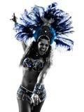 De danserssilhouet van de vrouwensamba stock foto
