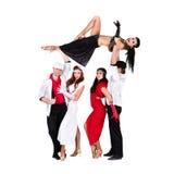 Het de dansersteam van het cabaret kleedde zich in uitstekende kostuums Stock Fotografie