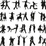 De dansmensen silhouetteren vector Stock Foto