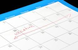 De data van de vakantie op een kalender Royalty-vrije Stock Afbeeldingen