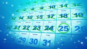 De data van de Kerstmiskalender en sneeuwvlokken Stock Foto's