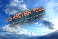 De datum van de catastrofe van Tchernobyl in de hemel stock foto's