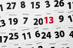 De datum van de kalender vrijdag 13 Stock Foto's