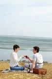 De datum van het strand Stock Foto